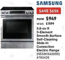 Lowe's Black Friday: Samsung 5.8 cu ft 5-Element Self Cleaning Slide-in Electric Range (NE58K9430SS) for $949.00