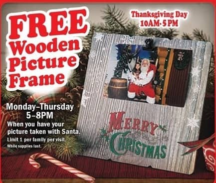 Bass Pro Shops Black Friday: Wooden Picture Frame When You Take a Picture w/ Santa for Free