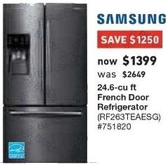 Lowe's Black Friday: Samsung 24.6 cu ft French Door Refrigerator (RF263TEAESG) for $1,399.00
