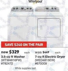 Lowe's Black Friday: Whirlpool 3.5 cu ft Washer (WTW4816FW) for $329.00