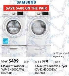 Lowe's Black Friday: Samsung 7.5 cu ft Electric Dryer (DV42H5000EW) for $499.00