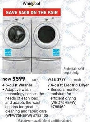 Lowe's Black Friday: Whirlpool 4.5 cu ft Washer (WFW75HEFW) for $599.00