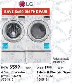 Lowe's Black Friday: LG 7.4 cu ft Electric Dryer (DLE3170W) for $599.00