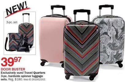Bon-Ton Black Friday: Travel Quarters 3-pc Hardside Spinner Luggage Sets for $39.97