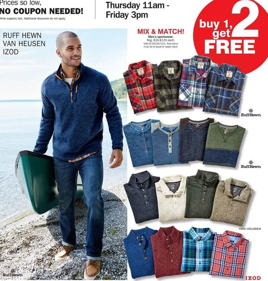 Bon-Ton Black Friday: Men's Sporswear from IZOD, Van Heusen or Ruff Hewn - B1G2 Free