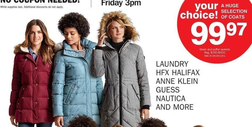 Bon-Ton Black Friday: Women's Jackets from Nautica, Michasel Kors, Anne Klein, Guess and More for $99.97