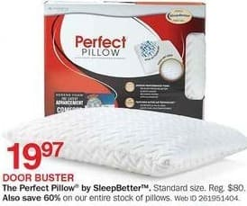 Bon-Ton Black Friday: The Perfect Pillow by SleepBetter, Standard for $19.97