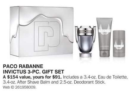 Bon-Ton Black Friday: Paco Rabanne Invictus 3-pc Gift Set for $91.00
