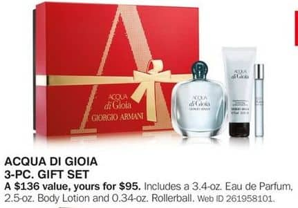 Bon-Ton Black Friday: Acqua Di Gioia 3-pc Gift Set for $95.00