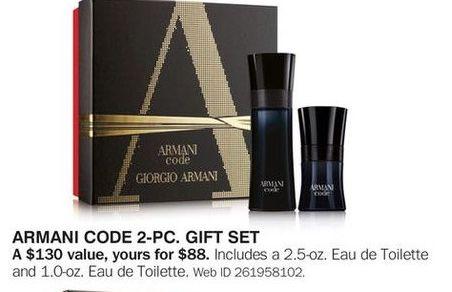 Bon-Ton Black Friday: Armani Code 2-pc Gift Set for $88.00