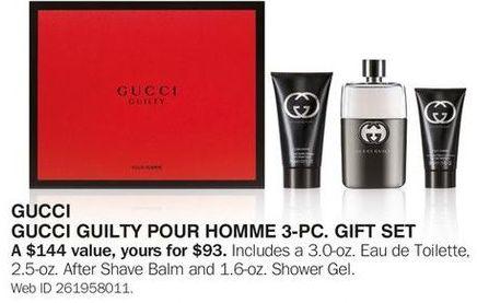 Bon-Ton Black Friday: Gucci Guilty Pour Homme 3-pc Gift Set for $93.00