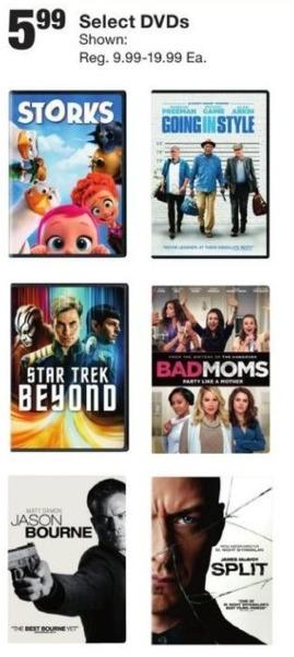Fred Meyer Black Friday: Select DVDs including Storks, Star Trek Beyond, Bad Moms, Split and More for $5.99