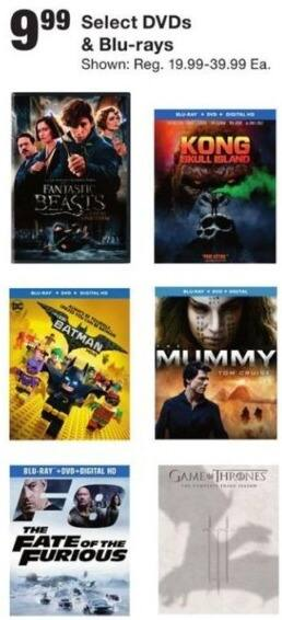Fred Meyer Black Friday: Select Blu-Rays and DVDs Including Kong Skull Island, Fate of The Furious and More for $9.99