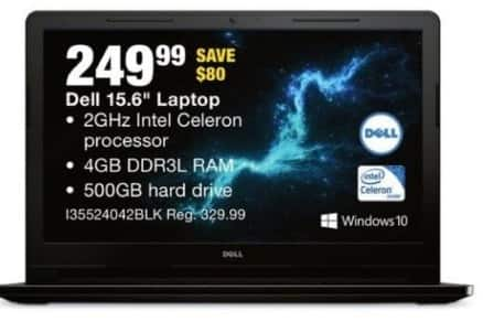 "Fred Meyer Black Friday: Dell 15.6"" Laptop: Intel Celeron CPU, 4GB RAM, 500GB HDD, Win 10 for $249.99"
