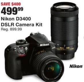 Fred Meyer Black Friday: Nikon D3400 DSLR Camera Kit for $499.99
