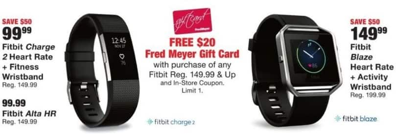 Fred Meyer Black Friday: $20 Fred Meyer Gift Card w/Purchase of Any Fitbit Regularly $149.99 and Up for Free