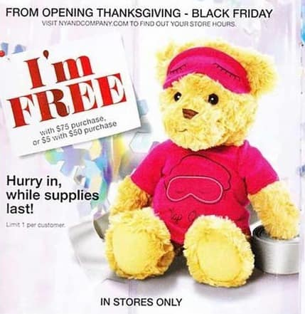 New York and Company Black Friday: Teddy Bear w/ $75 Purchase for Free