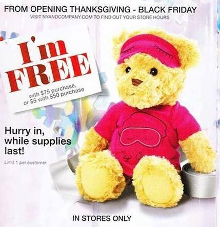 New York and Company Black Friday: Teddy Bear w/ $50 Purchase for $5.00