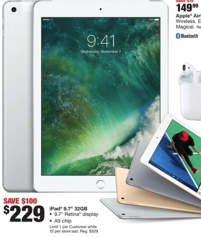 """Fred Meyer Black Friday: 32GB iPad 9.7"""" Tablet for $229.00"""