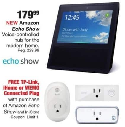 Fred Meyer Black Friday: Amazon Echo Show + Free TP-Link, iHome or Wemo Connected Plug for $179.99