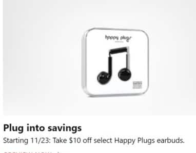 Microsoft Store Black Friday: Happy Plugs Earbuds - $10 Off