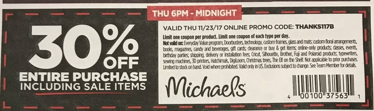 Michaels Black Friday: Entire Purchase Including Sale Items - 30% Off