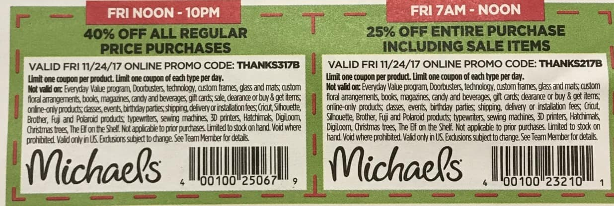 Michaels Black Friday: Entire Purchase Including Sale Items - 25% Off