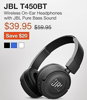 JBL Black Friday: JBL T450BT Wireless On-Ear Headphones with Pure Bass Sound for $39.95
