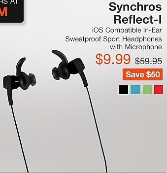 2c19834e713 JBL Black Friday: JBL Synchros Reflect-I iOS Compatible In-Ear Sweatproof Sport  Headphones with Microphone for $9.99