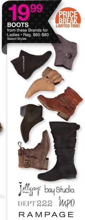 Bealls Florida Black Friday: Women's Boots from Rampage, Bay Studio, Dept 222, Jellypop or IMPO, Select Styles for $19.99
