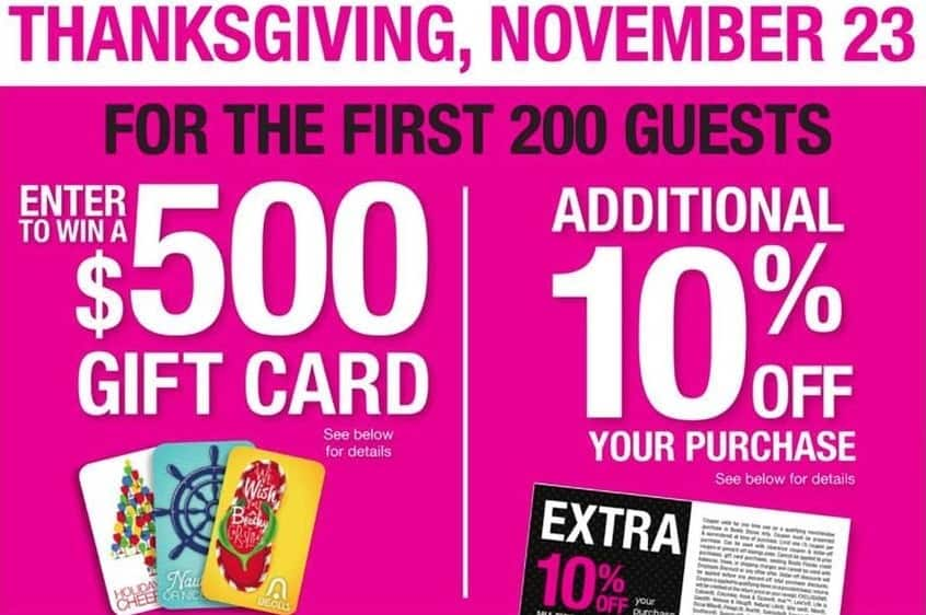 Bealls Florida Black Friday: Bealls Gift Card Giveaway + 10% Off Coupon: First 200 Customers on 11/23 at 6pm, Chance to Win - $500 Bealls Gift Card
