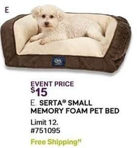 Sam's Club Black Friday: Serta Small Memory Foam Pet Bed for $15.00