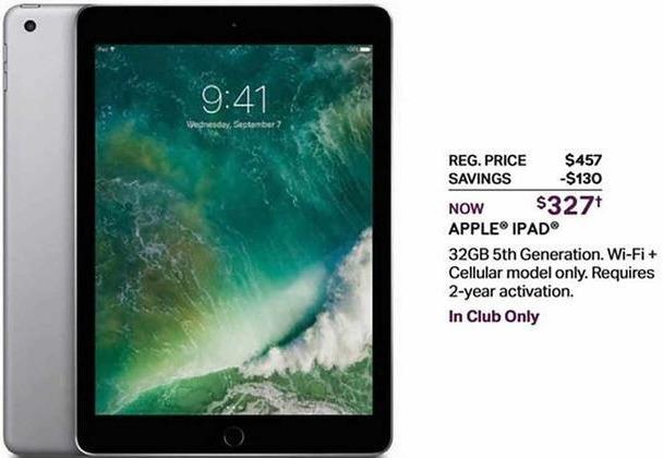 Sam's Club Black Friday: 32GB iPad 5th Gen Wi-Fi + Cellular Model, w/2 Year Activation for $327.00