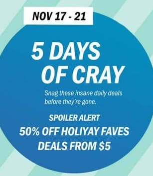 Old Navy Black Friday: 5 Days of Cray 11/17 - 11/21, Holiday Faves - 50% Off
