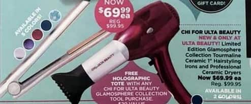 "Ulta Beauty Black Friday: Chi Glamosphere Collection Tourmaline Ceramic 1"" Hairstyling Irons or Professional Ceramic Dryers + Free Tote for $69.99"