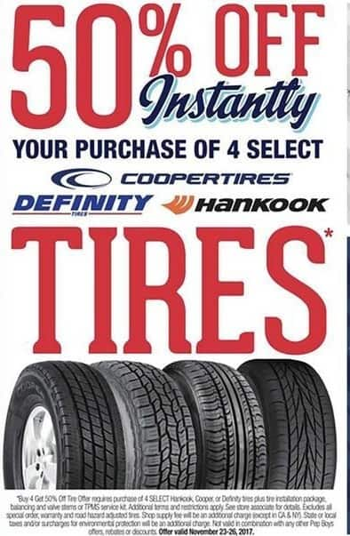 Pep Boys Black Friday: Buy 4 Select Tires from Hankook, Cooper or Definity, plus Tire Installation Package, Balancing and Valve Stems or TPMS Service Kit - 50% Off