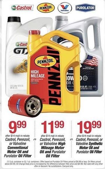 Pep Boys Black Friday: Castrol, Pennzoil or Valvoline High Mileage Motor Oil (5 qts) + Purolator Oil Filter for $11.99 after $14 rebate