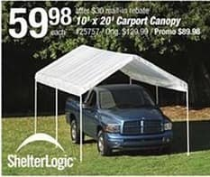 Pep Boys Black Friday: ShelterLogic 10' x 20' Carport Canopy for $59.98 after $30 rebate