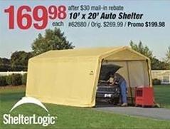 Pep Boys Black Friday: ShelterLogic 10' x 20' Auto Shelter for $169.98 after $30 rebate