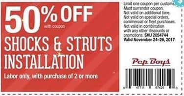 Pep Boys Black Friday: (2) Shocks & Struts INstallation (Labor Only), with Coupon - 50% Off