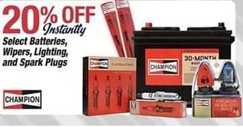 Pep Boys Black Friday: Champion Batteries, Wipers, Lighting or Spark Plugs, Select Styles - 20% Off