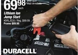 Pep Boys Black Friday: Duracell Lithium Ion Jump Start , 1100 Peak Amps for $69.98 after $20 rebate