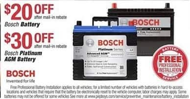 Pep Boys Black Friday: Bosch Platinum AGM Car Battery - $30 Off After Rebate