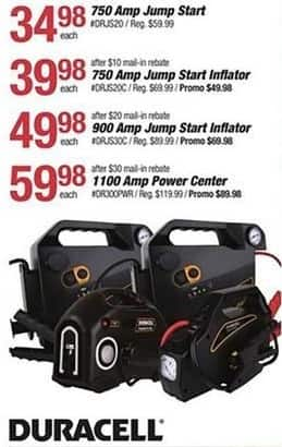 Pep Boys Black Friday: Duracell 1100 Amp Power Center for $59.98 after $30 rebate