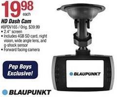 Pep Boys Black Friday: Blaupunkt HD Dash Cam for $19.98