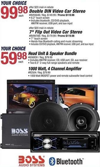 Pep Boys Black Friday: Boss Head Unit & Speaker Bundle or 1000 Watt 4 Channel Amplifier for $59.98