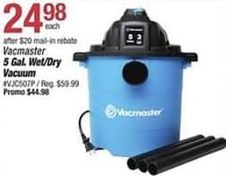 Pep Boys Black Friday: Vacmaster 5 Gallon Wet/Dry Vacuum for $24.98 after $20 rebate