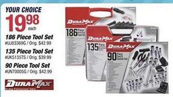 Pep Boys Black Friday: DuraMax 90-pc Tool & Socket Set, 135-pc Automotive/Garage Set or 186-pc Home Repair Tool Set for $19.98