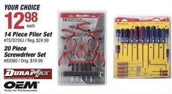 Pep Boys Black Friday: DuraMax 14-pc Plier Set or 21-pc Screwdriver Set for $12.98