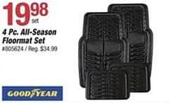 Pep Boys Black Friday: Goodyear 4 pc All Season Floormat Set for $19.98